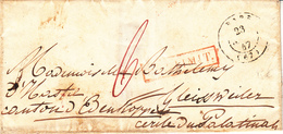 LAC Obl BARR [Type 15] Du 23 SEPT 47 Adressée à Gleissweiler Palatinat + DEP LIMIT Rouge - Postmark Collection (Covers)