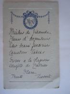 Belgique Belgie Menu Circa 1900 Noblesse Dos Baronne De Rosen Format  10,8 X 16,8 Cm - Menus