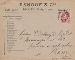 ZZ503 - BELGIQUE - Lettre TP Fine Barbe MONS 1901 - Entete Esnouf § Cie Articles Pour BRASSERIES , Sucreries , ... - Bières
