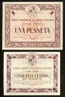 BILLET 1 PESETA.+ BILLET 50 CENTIMS CONSELL GENERAL VALLS ANDORRA.1936. - Andorra