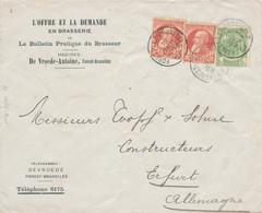ZZ504 - BELGIQUE - Lettre Illustrée TP Grosse Barbe FOREST BXL 1907 - 2 Publications Sur La BRASSERIE , De Vroede - Bières