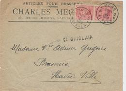 ZZ505 - BELGIQUE - Lettre TP Albert 15 MONS 1922 - Articles Pour BRASSERIE - Griffe D' Origine ST GHISLAIN - Bières