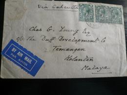 1933 25 Oct. From Lincolnshire To Kelantan Malaya Via Calcutta Various Transit - 1902-1951 (Re)