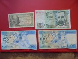ESPAGNE+PORTUGAL LOT DE 4 BILLETS CIRCULES - Coins & Banknotes