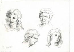 DESSINS ORIGINAUX: 3 Feuilles D'Etudes De12 Têtes Au Crayon (1986) Signées GIRARDET G. - Drawings