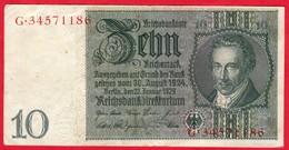 -- BILLET DE 10 REICHSMARK  - G.34571186 - - [ 4] 1933-1945 : Third Reich