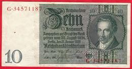 -- BILLET DE 10 REICHSMARK  - G.34571187 - - [ 4] 1933-1945 : Third Reich