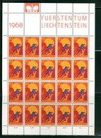 LIECHTENSTEIN - FOGLIO INTERO COMPLETO - NON PIEGATO - MNH LUSSO - 1967 - FUERSTENTUM - Definitives Religion 9v - Blocs & Feuillets