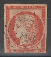 France - YT 5 - 40c Orange Oblitéré PC 898 Cognac Charente - Défauts - 1849-1850 Ceres