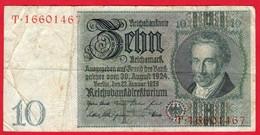 -- BILLET DE 10 REICHSMARK  -T. 16601467 - - - [ 4] 1933-1945 : Third Reich
