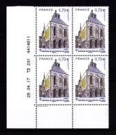 Coin Daté France 2017, Bloc 0.73 € X 4 CD 28.04.17 TD 201 /  1 Trait / Abbatiale De Saint-Benoit-sur-Loire - Dated Corners
