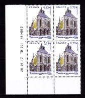 Coin Daté France 2017, Bloc 0.73 € X 4 CD 28.04.17 TD 201 /  Sans Trait / Abbatiale De Saint-Benoit-sur-Loire - Dated Corners