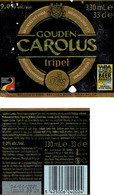 Étiquette Bière Gouden Carolus Tripel 33 Cl Alc 9,0 % Vol (2018) + Back (Brouwerij Het Anker, Mechelen) - Bière