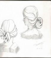 DESSIN ORIGINAL: Buste De Femme Au Crayon (1986) Vu Sous 3 Angles Différents Signés GIRARDET G. - Drawings