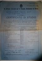 """Certificato Di Studio - Scuola Elementare """"Adelaide Cairoli"""" Roma - 1936 - Classe V - Diplomi E Pagelle"""