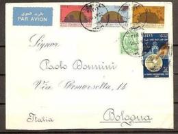 1964 Libia Libya STORIA POSTALE Busta Viaggiata Aerea TRIPOLI - BOLOGNA - Libia