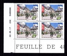 Coin Daté France 2017, Bloc 0.73 € X 4 CD 22.05.17  TD 202 /  Sans Trait /  Rochefort En Terre, Morbihan - Dated Corners
