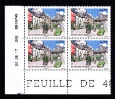 Coin Daté France 2017, Bloc 0.73 € X 4 CD 20.05.17  TD 202 /  Sans Trait /  Rochefort En Terre, Morbihan - Dated Corners
