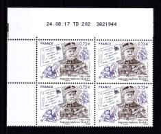 Coin Daté France 2017, Bloc 0.73 € X 4 CD 24.08.17  TD 202 /  Sans Trait /  Augustin-Alphonse  MARTY   1862 - 1940 - Dated Corners