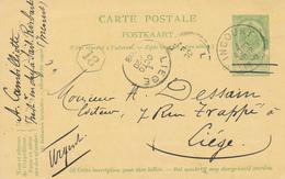 ZZ516 - BRABANT WALLON - Entier Postal Armoiries INCOURT 1908 Vers LIEGE - Ex SART RISBART - Entiers Postaux