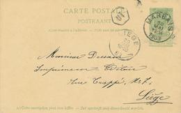 ZZ518 - BRABANT WALLON - Entier Postal Armoiries MARBAIS 1903 Vers LIEGE - Origine MARBISOUX - Entiers Postaux
