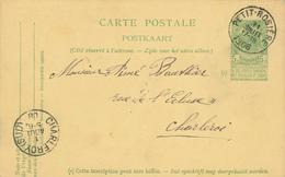 ZZ521 - BRABANT WALLON - Entier Postal Armoiries PETIT ROSIERE 1908 Vers CHARLEROI - Origine GEEST GEROMPONT - Entiers Postaux