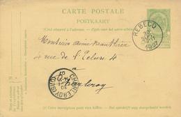 ZZ523 - BRABANT WALLON - Entier Postal Armoiries REBECQ 1907 Vers CHARLEROY - Entiers Postaux
