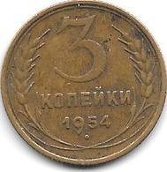 Russia 3 Kopeks     1954     Km 114    Vf+ - Russie