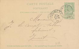 ZZ524 - BRABANT WALLON - Entier Postal Armoiries SAINTES 1901 Vers JUMET - Entiers Postaux