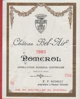 Etiquette De VIN - Pomerol - Château Bel-Air - 1983. - Other