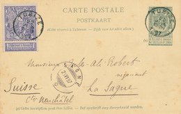 ZZ525 - BRABANT WALLON - Entier Postal Armoiries + TP Expo Bxl TUBIZE 1897 Vers La Suisse - Origine CLABECQ - Entiers Postaux