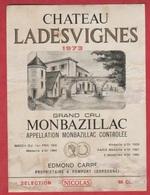 Etiquette De VIN - Monbazillac - Château Ladesvignes - Grand Cru - 1973 - Other