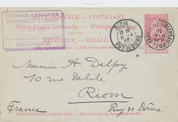 ZZ529 - BRABANT WALLON - Entier Postal Fine Barbe GRAND LEEZ THOREMBAIS 1903 Vers RIOM France - Entiers Postaux
