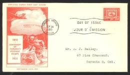 Canada Sc# 314 FDC (a) 1951 9.24 Three Penny Beaver - Omslagen Van De Eerste Dagen (FDC)