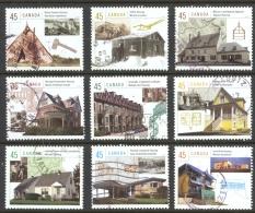 Canada Sc# 1755a-1755i Used Set/9 (b) 1998 45c Housing In Canada - 1952-.... Regering Van Elizabeth II