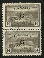 Canada 1950 14 Cent Hydroelectric Dam  Issue #O22  Pair - Officials