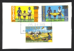 Guyana SG# 1545 ++ First Day Cancel Set/3 Multiple Surcharges 1985 Girl Guides - Guyana (1966-...)