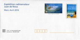 """Entier Postal De 2016 Sur ENV Avec Timbres """"Juan De Nova Et Liaisons Radioamateurs"""" - Postwaardestukken"""
