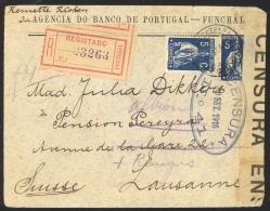 Portugal Sc# 213X2 Registered (CENSORED) On Cover Funchal>Switzerland 1916 9.20 Ceres - 1910-... République
