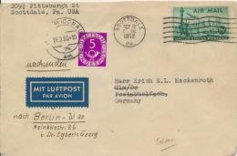 BRD 125 Auf Brief Aus USA Als Luftpost-Nachsendegebühr, Sehr Selten, Rückseitig Beschriftet - Briefe U. Dokumente