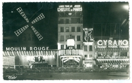1960, France, Paris, Le Moulin Rouge La Nuit. Real Photo Pc, Used. - France