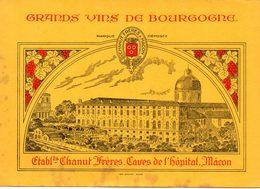 Buvard Vins De Bourgogne. Ets Chanut Frères, Caves De L'hôpital à Mâcon. - Blotters