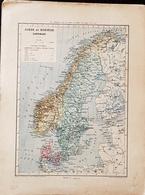CARTE GEOGRAPHIQUE ANCIENNE: SUEDE Et NORVEGE DANEMARK (garantie Authentique. Epoque 19 ème Siècle) - Geographical Maps