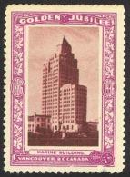 Canada Cinderella Cc0250.35 CULL (tear Bottom) 1936 Vancouver Golden Jubilee Marine Building - Privaat & Lokale Post
