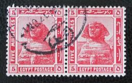 PROTECTORAT BRITANNIQUE - SPHINX DE GISEH 1922 - BELLE PAIRE OBLITEREE - YT 60 - Égypte