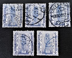 PROTECTORAT BRITANNIQUE - STATUE DE RAMSES II 1922 - OBLITERES - YT 64 - VARIETES DE TEINTES ET D'OBLITERATIONS - Égypte