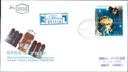 Israel FDC 1996, Tag Der Briefmarke: Israelische Weltraumforschung, Shavit-Trägerrakete, Erde, Satellit OFEK-3 (2-166) - FDC