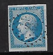 """FR YT 14B """" Napoléon III 20c. Bleu """" 1860 PC 898 COGNAC - 1853-1860 Napoleon III"""