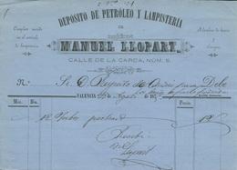 VALENCIA ESPAÑA 1875 FACTURA DE LAMPISTERÍA MANUEL LLOPART - España
