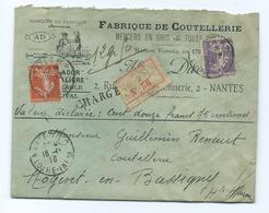 NANTES Loire Atlantique  - Lettre Chargee - Semeuse Camee - Enveloppe Commerciale - Marcophilie (Lettres)